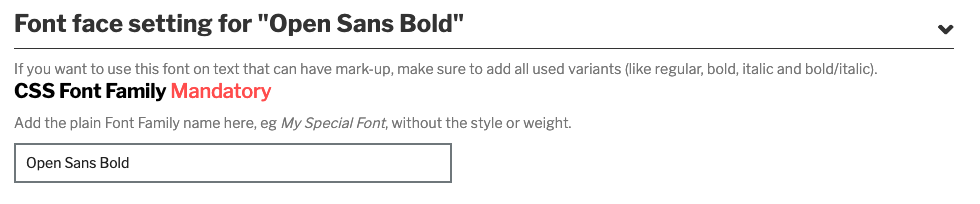 Example screen with completed CSS Font Family field