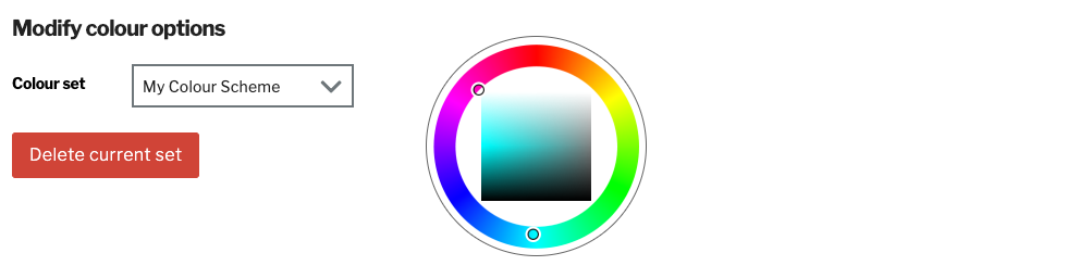 Example of colour schemes from the colour set options