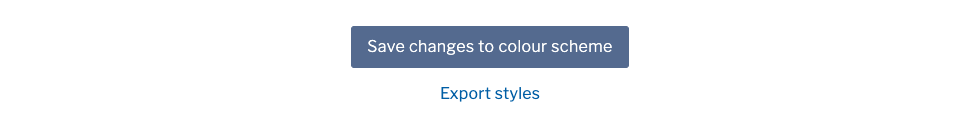 'Save changes to colour scheme' and 'Export styles' buttons
