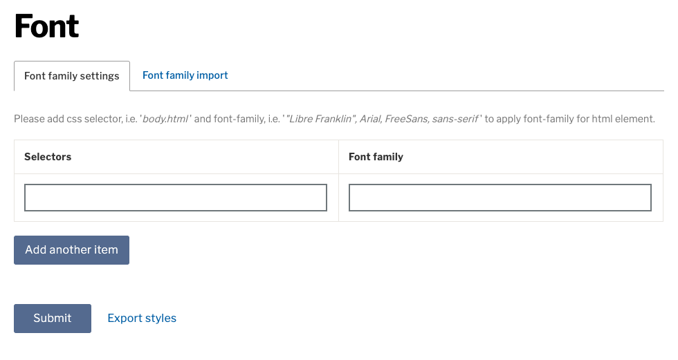 Example css selectors and family fields (Empty)