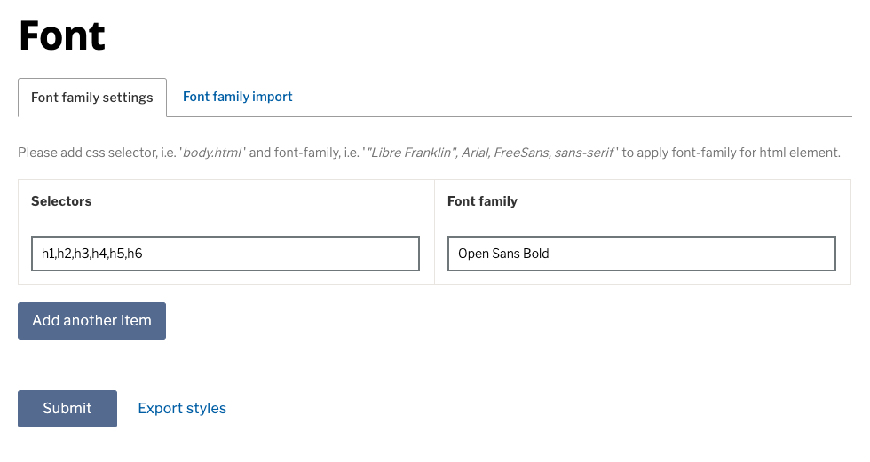 Example css selectors and family fields (Complete)