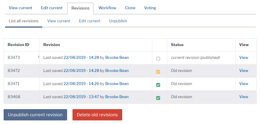 Screenshot of bulk delete revisions screen