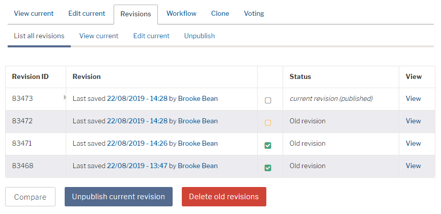 Screenshot of bulk delete old revisions screen