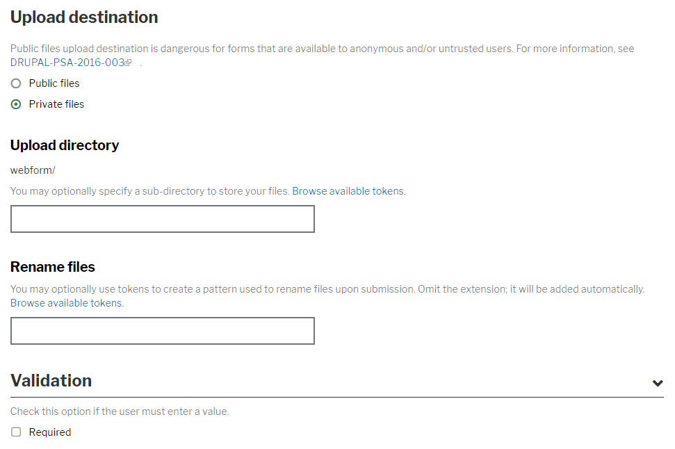 Required checkboxes screen