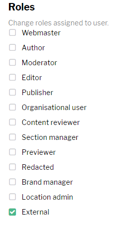 Screenshot of roles list