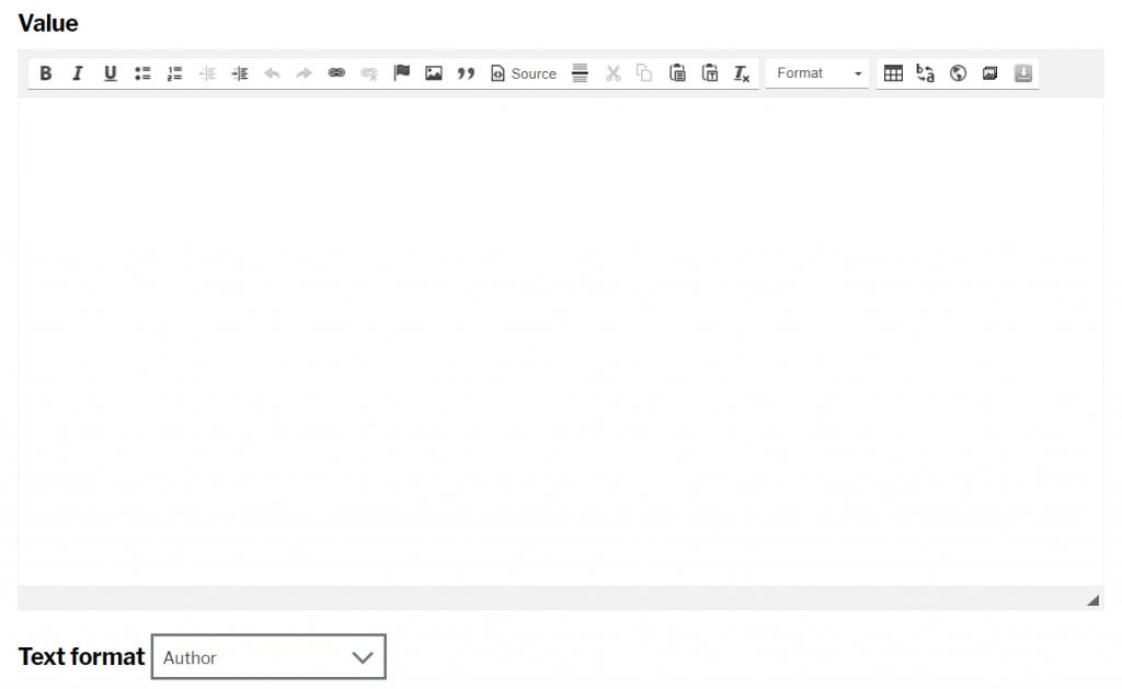 HTML markup input screen