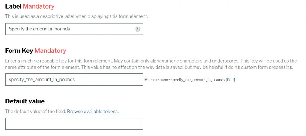 Default value input screen
