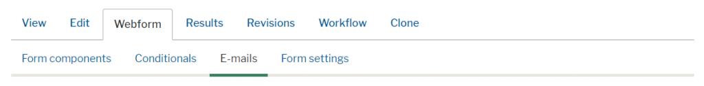 Email configuration menu