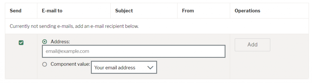 Email address input screen