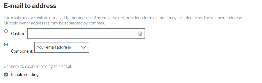 Enable email checkbox