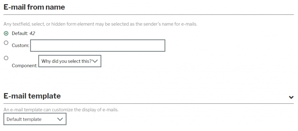 Select email template screen