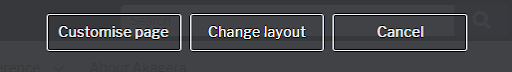 Options to customise page, change layout or cancel in the IPE toolbar