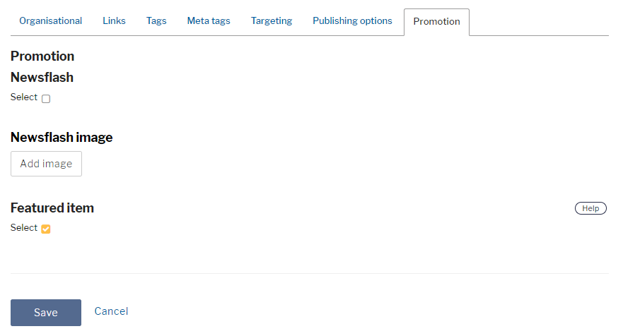Promotion options in content creation with Newsflash and featured options and newsflash image upload