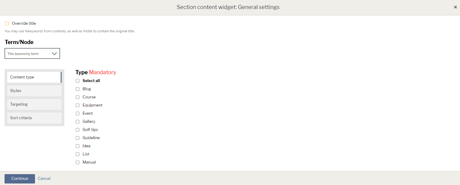 Section content widget options with title overide checkbox and list of content types shown
