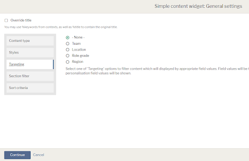 Widget editing options with content types, stlyes, targeting, section filter and sort criteria tabs
