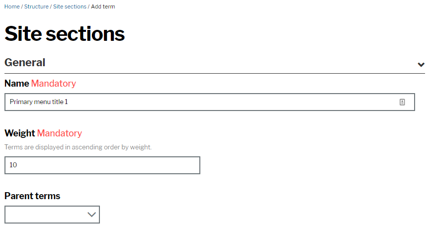 Site section creation page with fields for name, weight and parent terms