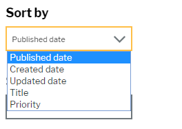 Sort by options for news display of published date, created dateand updated date or by title or priority