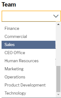 Organisational options for team targeting in a drop down menu