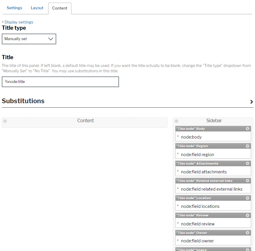 Templates content page with title types, title and substitutions fields