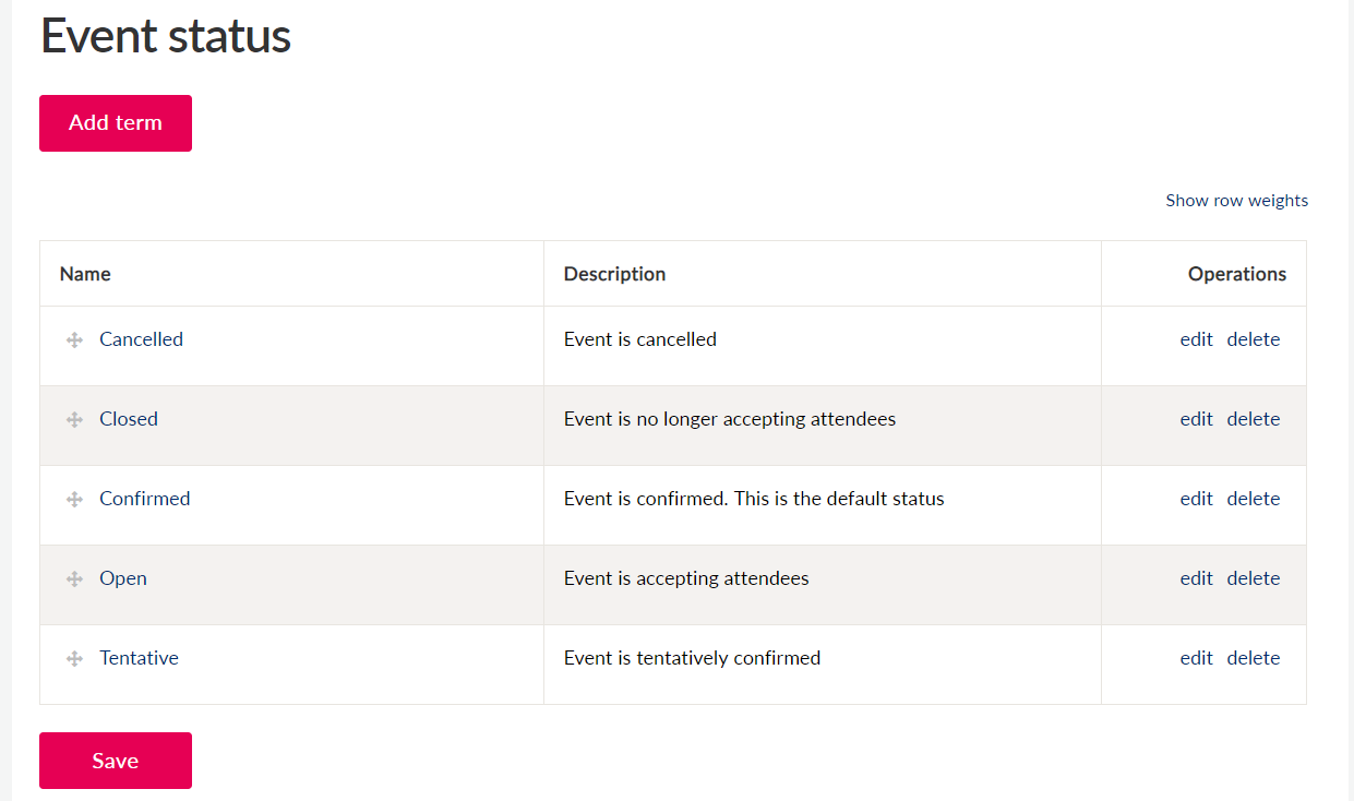 Configuration page for event status with option to add or edit terms