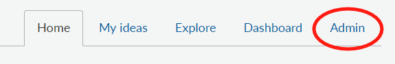 Admin tab available on the ideas configuration page