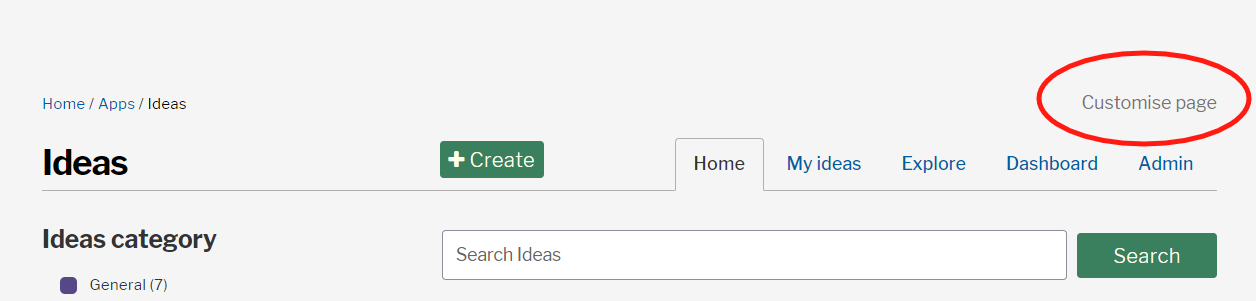 Customising page button on the ideas landing page
