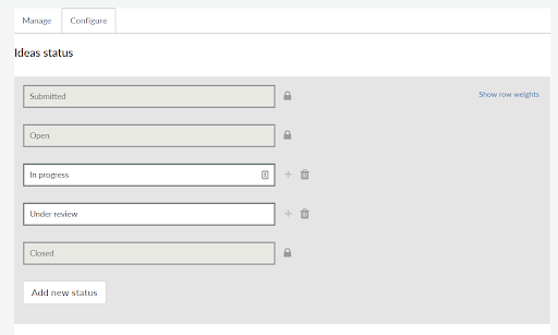Drag and drop ordering for ideas status options