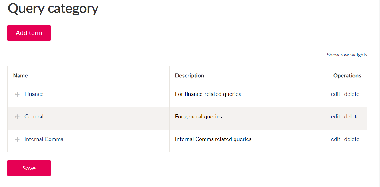 Configuration page for adding and editing query categories