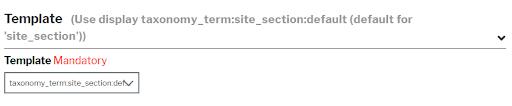 dropdown menu for site section templates