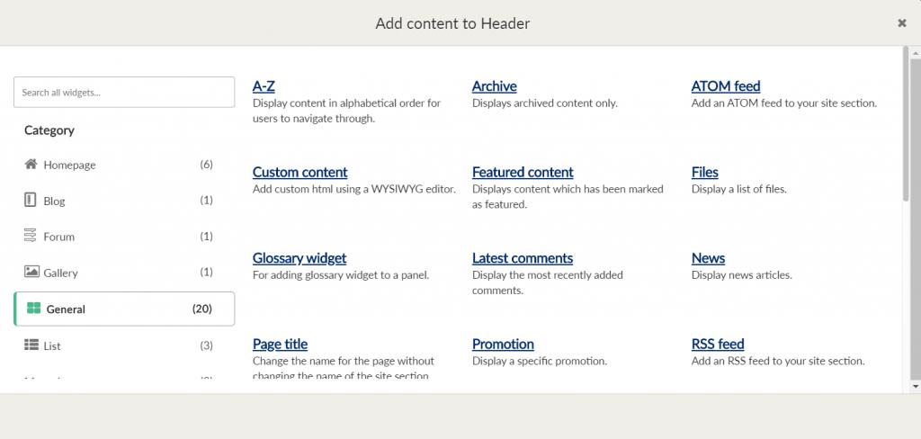 menu displaying widget options