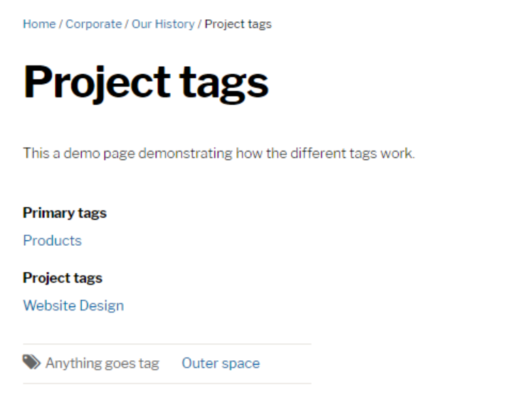 Project tags page screenshot