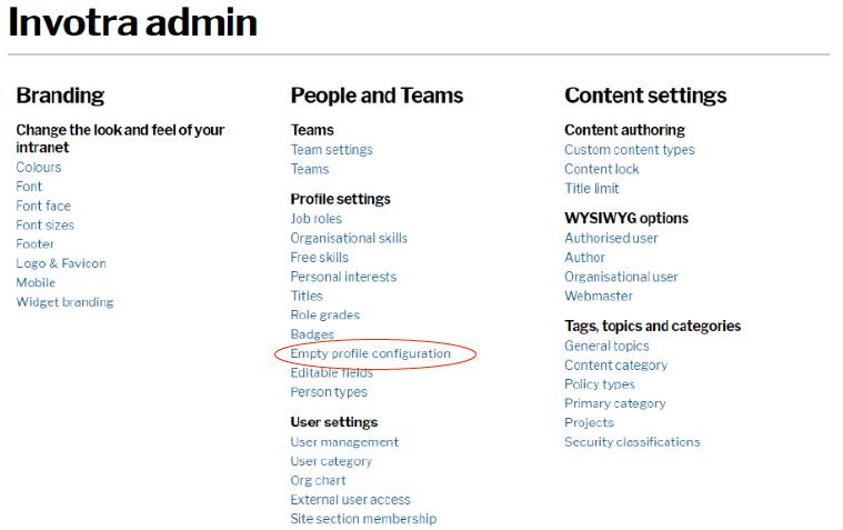 Invotra admin screenshot
