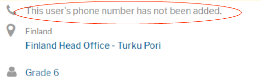 User profile phone number section