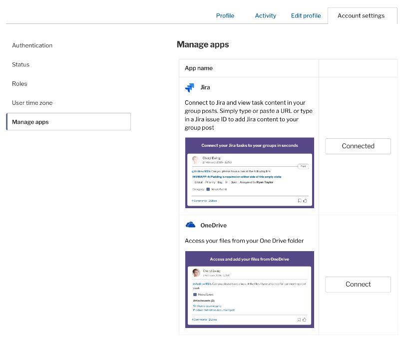 Integrations admin - account settings screen