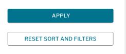 Apply and reset sort and filters buttons