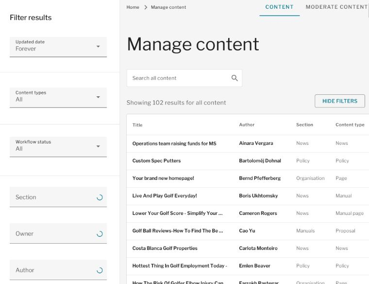 Filter results options including updated date, content types,worjflow status, section, owner and author