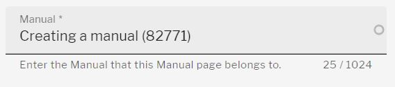 Field to assign a manual page to the required manual