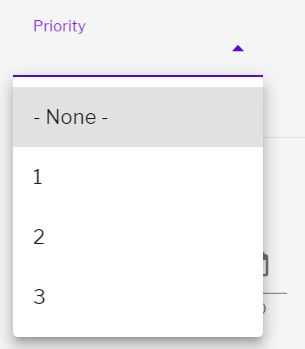 Priority drop down options with none, 1, 2 or 3 displayed