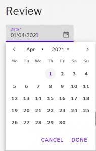 Date field with dropdown calendar