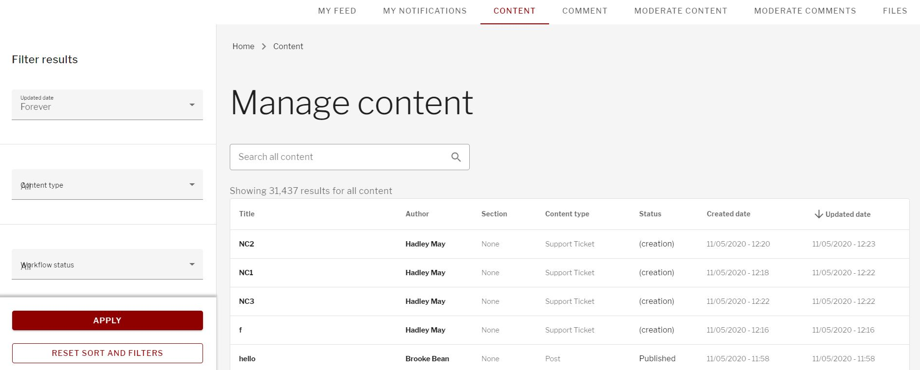Manage content tabs of  content, moderate content, comments, moderate comments, and files