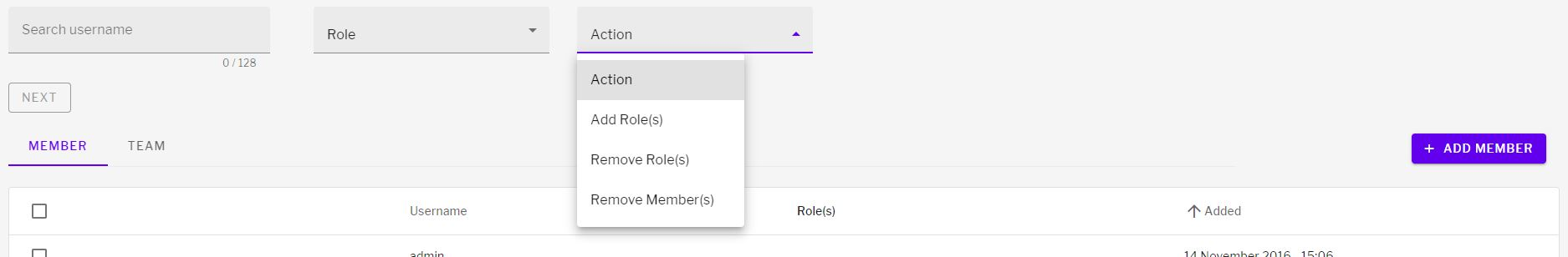 Actions to take for users on sections including add or remove role and add members
