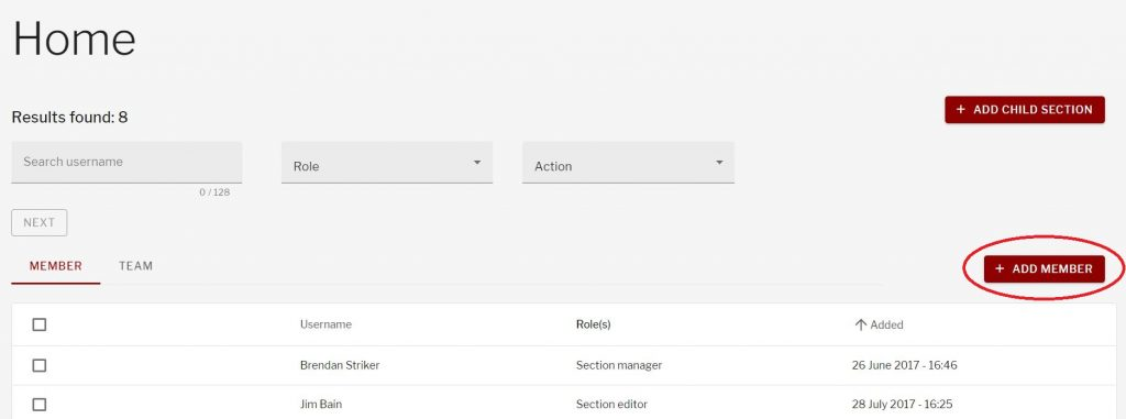 Add member button on section management page