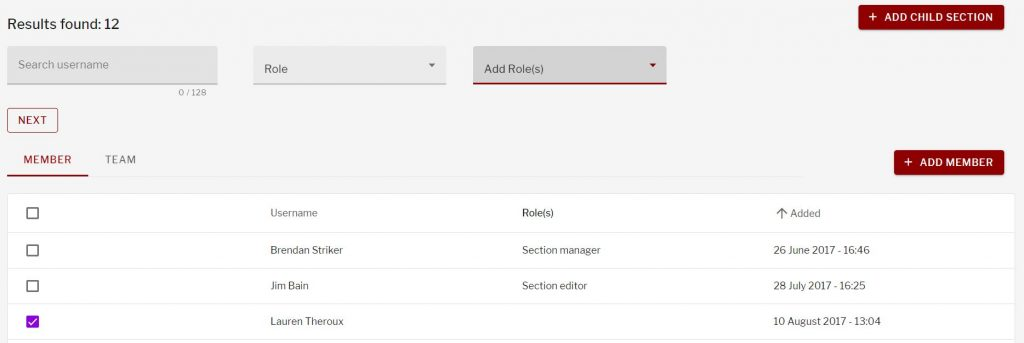 Add role option for users on the manage section screen