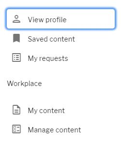 Profile menu with manage content link