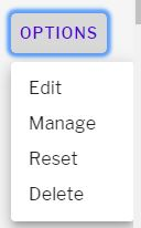 Options menu in sections