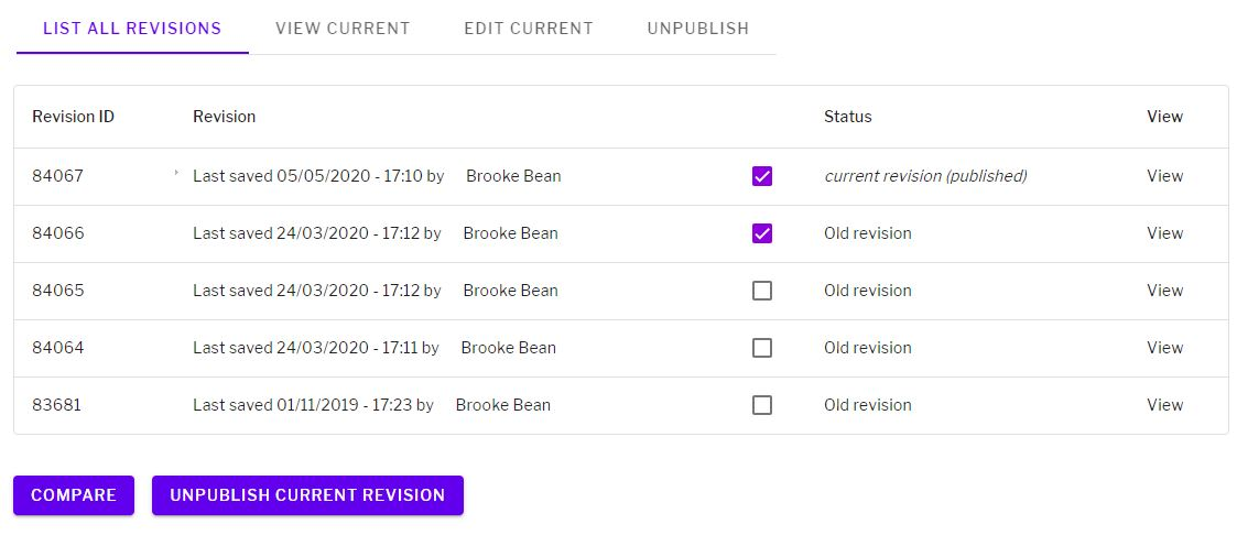 Revisions table with revision ID, date and author details, checkboxes to select revisions to compare or delete, status and view link