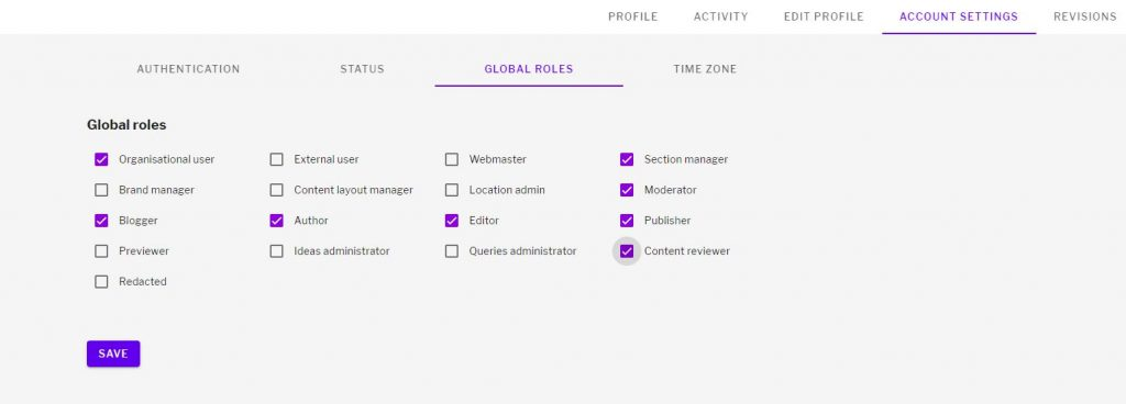 PUblishing roles selected in the global roles setting page of a user's profile