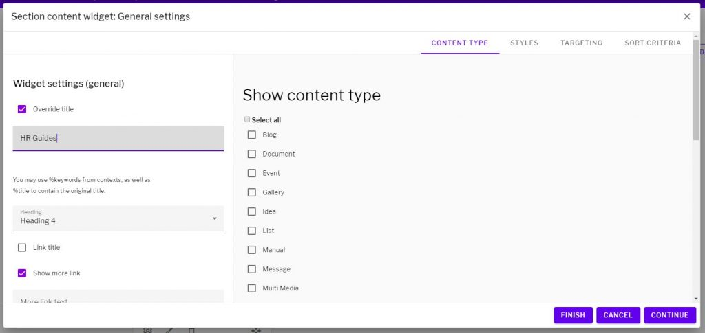 Section content widget options with override title option selected