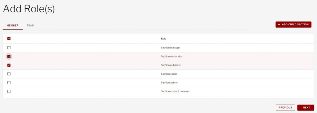 Selected roles to add to user roles screen within manage section screen