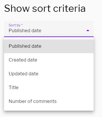 Sort criteria for section widget dropdown